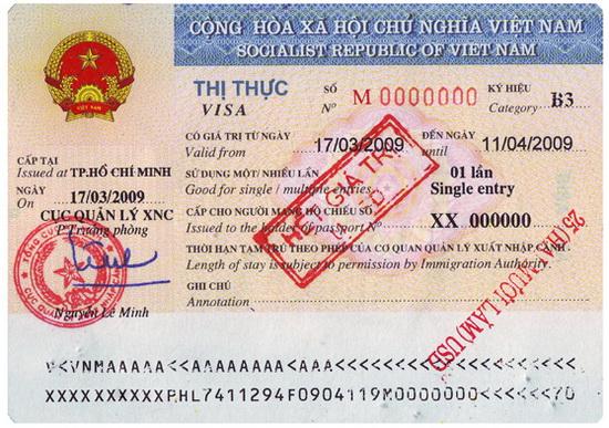 Vietnam visa stampt