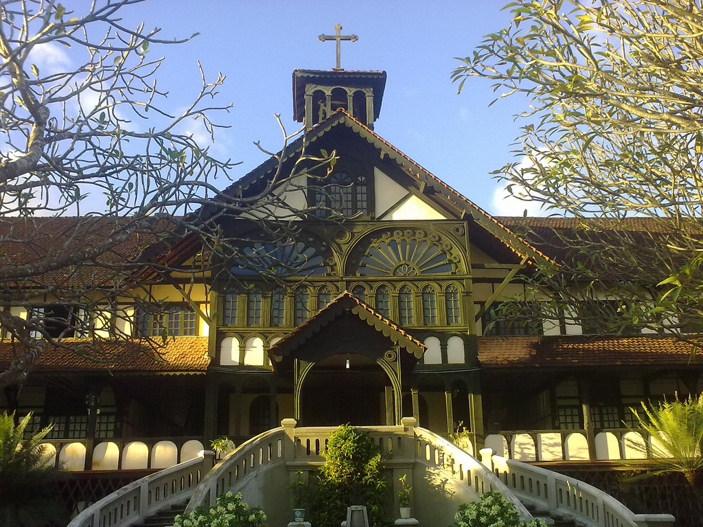 Front view of the famous wooden church