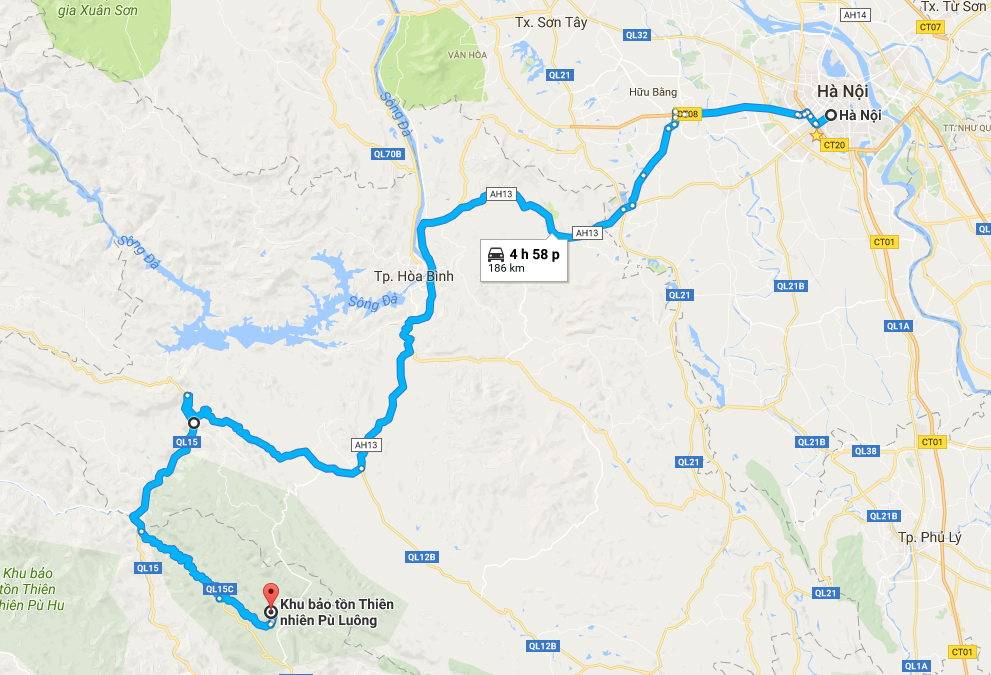 Map from Hanoi to Pu Luong. Routes: National Highway 6 and 15C