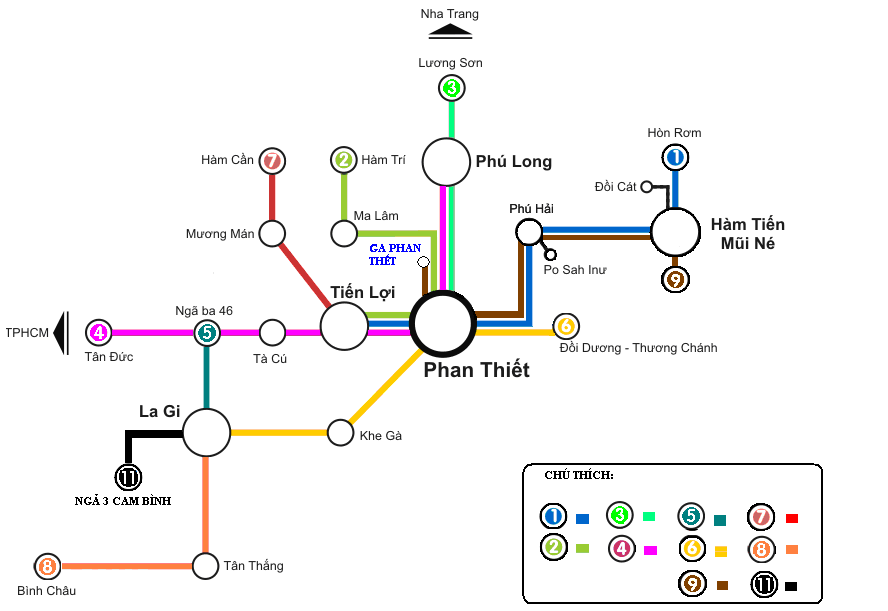 Bus map in Phan Thiet