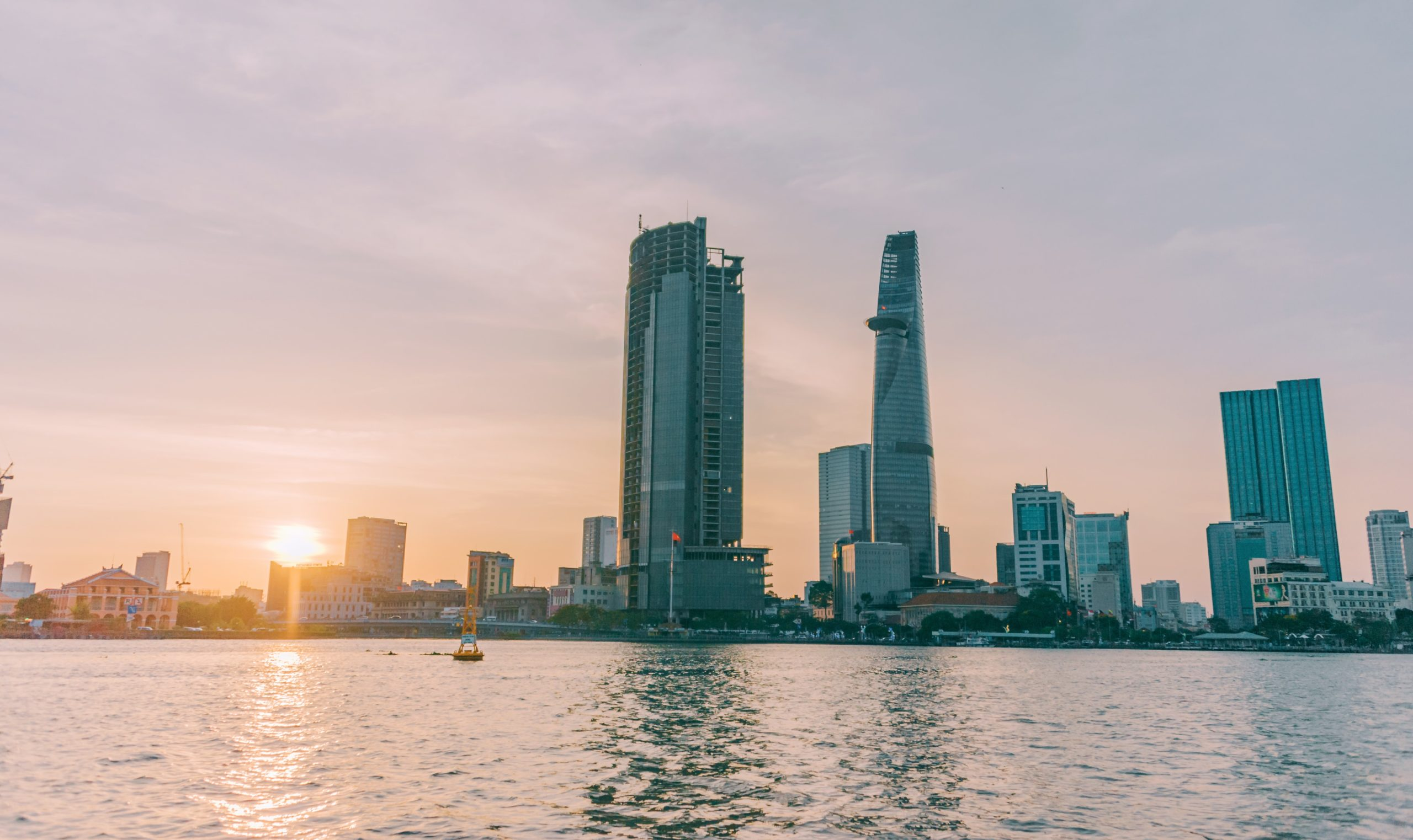 Ho Chi Minh City Sai Gon high rise building near sea with sunshine