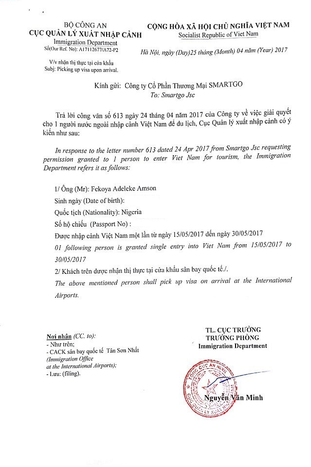 vietnam visa approval for africans